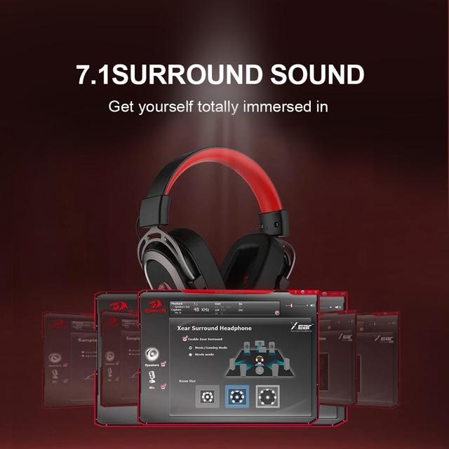 Redragon-auriculares H710 Helios para videojuegos, cascos con micrófono y cancelación de ruido, 7,1 USB Surround, para ordenador, controlador EQ 4