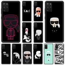 Lagerfeld marca designer karls caso de telefone para samsung galaxy s20 fe s10 plus lite s21 ultra s8 s9 plus s10e s7 borda preta capa