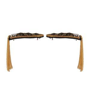 1 Pair  Star Tassel Link Chain Epaulet Shoulder Badge, Gold