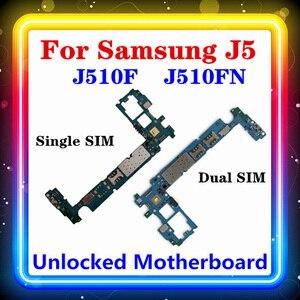 Image 1 - MBสำหรับSamsung Galaxy J5 J510F J510FN Motherboard Single/Dual SIMพร้อมชิปเดิมเปลี่ยนClean Logic Board Android OS