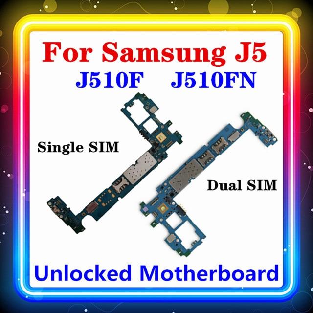 MBสำหรับSamsung Galaxy J5 J510F J510FN Motherboard Single/Dual SIMพร้อมชิปเดิมเปลี่ยนClean Logic Board Android OS