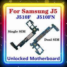 MB dla Samsung Galaxy J5 J510F J510FN płyta główna pojedyncza/podwójna karta SIM z chipami oryginalna wymieniona czysta płyta logiczna Android OS