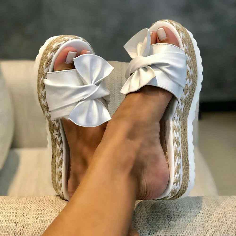 2020 yaz moda sandalet ayakkabı kadın yay yaz sandalet terlik kapalı açık Flip-flop plaj ayakkabısı kadın terlik