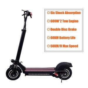 10inch 600W*2 Motors Electric Skateboard Foldable Electric Scootor 48V 60KM Hydraulic Suspension Disc Brake Shock Absorber