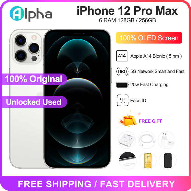 100% Original Apple iPhone 12 Pro Max 6GB ROM 128/256/512GB IOS A2342 A14 Bionic Face ID NFC Unlocked 5G iPhone 12PROMAX USED 1