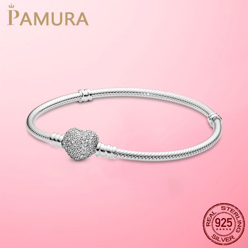 Romantic 925 Sterling Silver Sparkling Heart Clasp Snake Chain Bracelet For Women For Original Brand DIY Charm Beads Jewelry