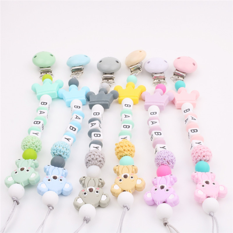 Baby Teethers BPA Free Silicone Rodents Set Pacifier Chain For Baby Pacifier Pendant Nipple Holder Troddler Infant Teething Toys