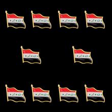 10PCS/Lot Iraq Patriotism Gold Plated Flag Pins Brooch Waving National Flag Style Flag Badge Brooch W/ Butterfly Clip israel flag pin brooch waving national flag style flag badge brooch w butterfly clip clothes accessories