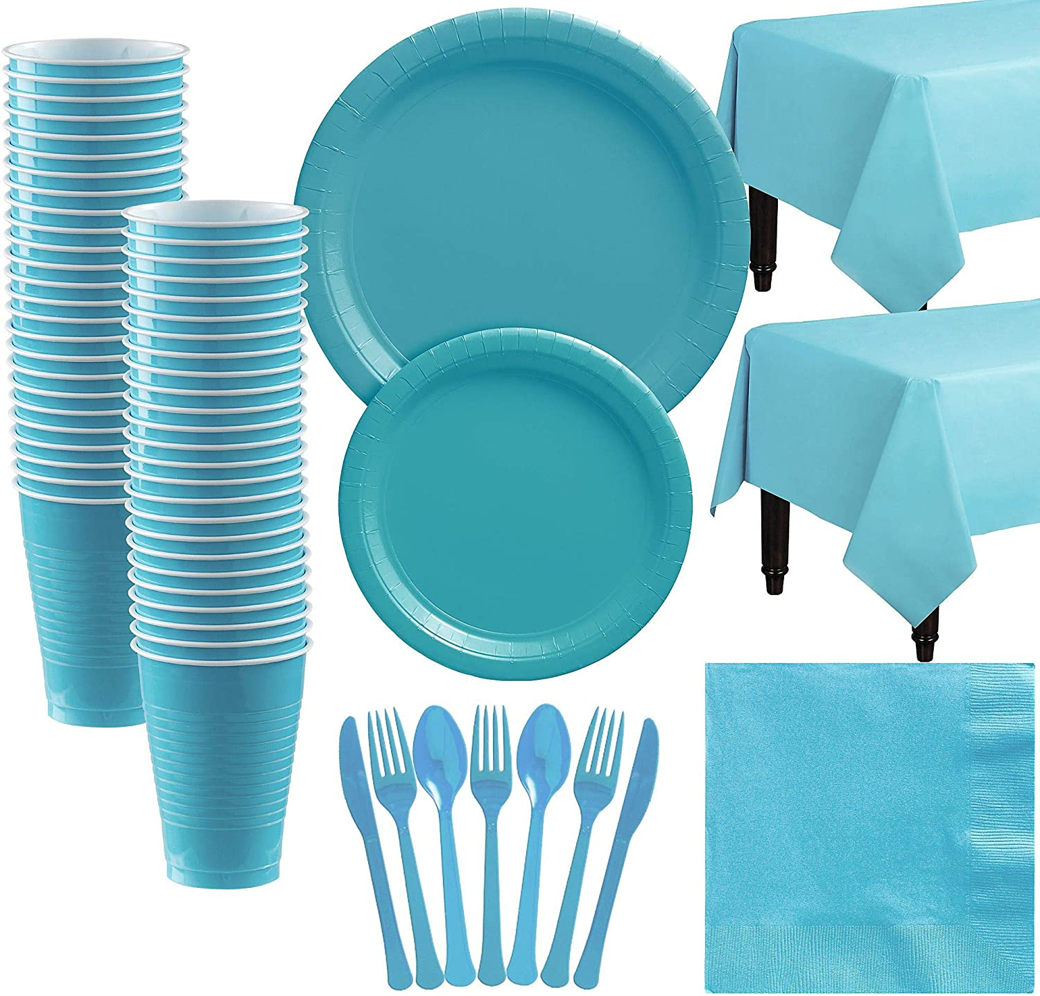 Pure Blue Plastic Decorations Wedding Party Decors Disposable Tableware Kit Cups Plates Napkin Kids Birthday Party Supplies