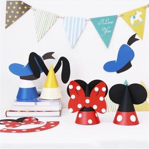 Disney Cartoon Mickey Minnie Donald Duck Party Paper Hat Birthday Cap Baby Shower Decoration Party Supplies Kids Gift Photo Prop