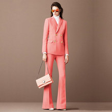 Jacket+Pants Deep Pink Women's Business Suits Female Office Uniform Blazer Ladies Winter Formal Trouser Suits Double Breasted(China)