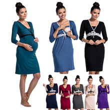 2019 Hot Sale Fashion Lace Stitching Multi-functional Breastfeeding Dress Pregnant Women Pajamas V-Neck Nursing