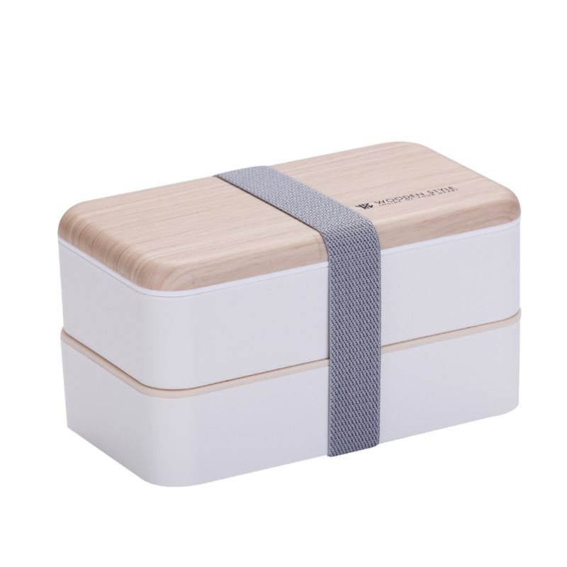 Microwave <font><b>Lunch</b></font> <font><b>Box</b></font> Japanese <font><b>Wood</b></font> Bento Case 2 Layer Container Storage Fat-reduced Breakfast High School Office Worker image
