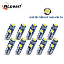 Nlpearl 10x lâmpada de sinal t5 lâmpada led w3w w1.2w led canbus 3030smd luz interior do carro auto cunha painel aquecimento indicador lâmpada