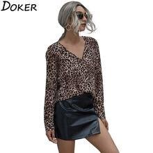 Женские топы и блузки 2020 осенние леопардовые с v образным