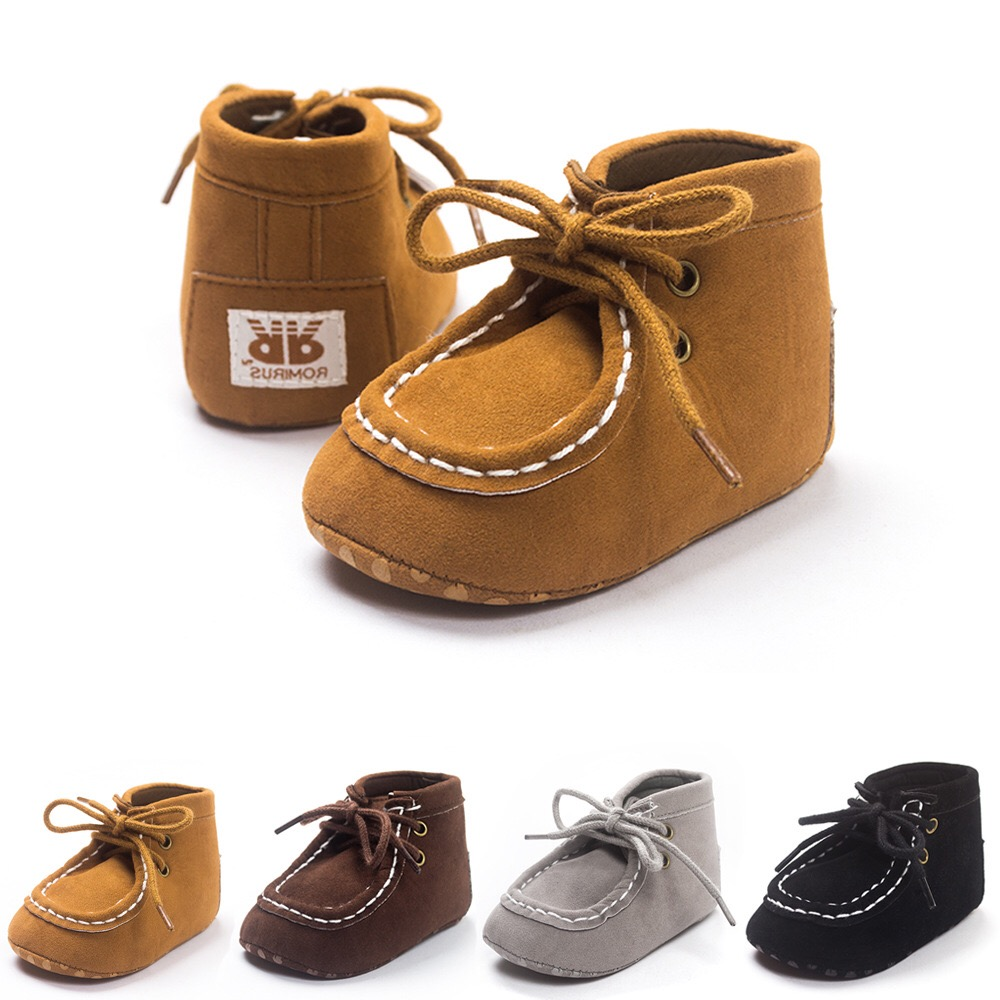 Spring Newborn Baby Shoes PU Suede Leather First Walker Baby Shoes For Boys Anti Slip Soft Bottom Kids Girls Shoes