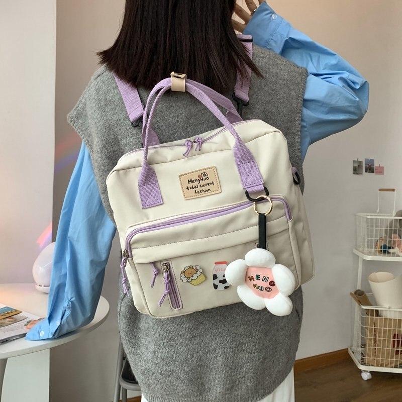 Floral Waterproof Schoolbags Female Multifunction Backpack Women Trend Kawaii School Backpacks Fashion Cute Class Bookbag Ladies