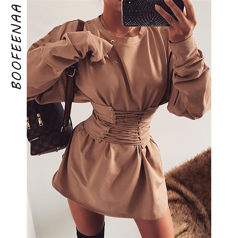 BOOFEENAA Belted Thick Oversized Hoodie Sweatshirt Dress Womens Clothing For Fall Winter 2019 Streetwear Pullover C54-AD54