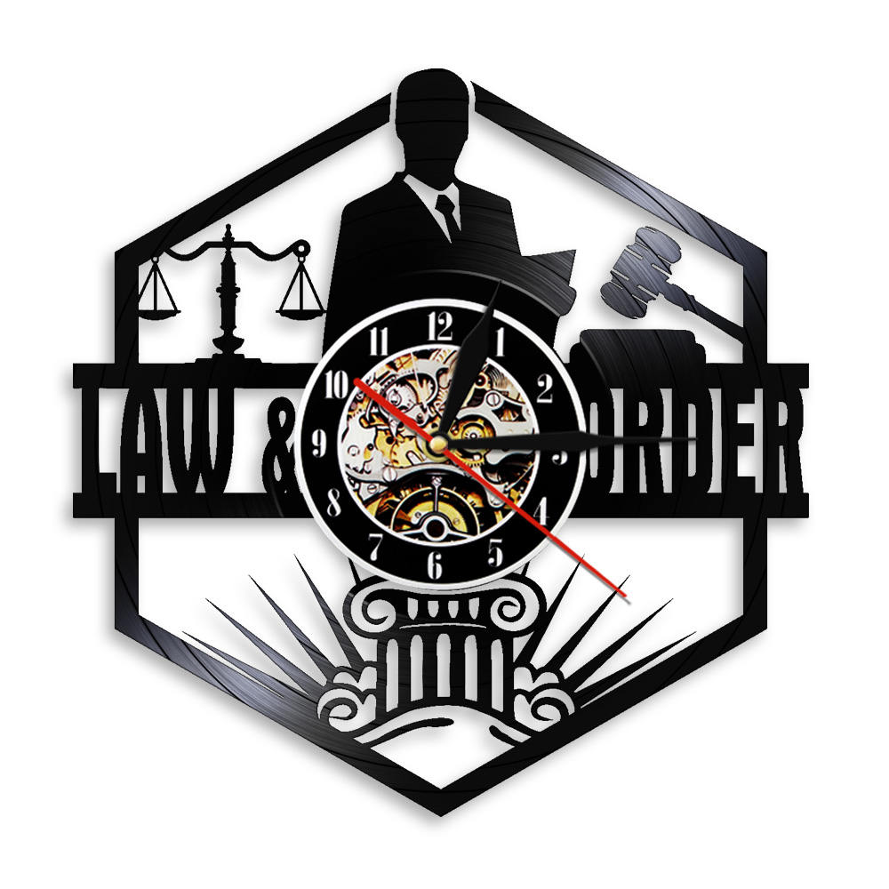 Scales Of Justice Lawyer Office Courtroom Decor Attorney Clock With Backlight Lawyer Vinyl Record Wall Clock Law Student Gift