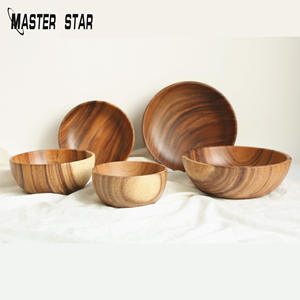 Master Star Chinese Lacquer Solid Wooden Bowl Salad Bowl Serving Utensils For Kids Kitchen Dish Home