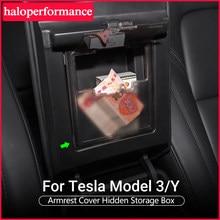 Novo model3 acessórios do carro para tesla modelo y 3 2021 caixa de armazenamento organizador de braços automático contêineres escondido titular modelo três