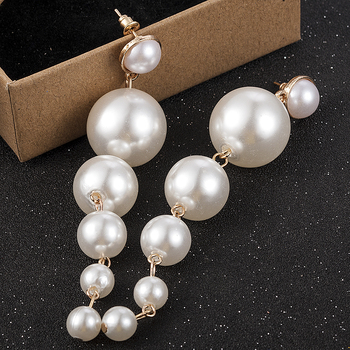 New Trendy Elegant Created Big Simulated Pearl Long Earrings Pearls String Statement Drop Earrings For Wedding Party Gift 2