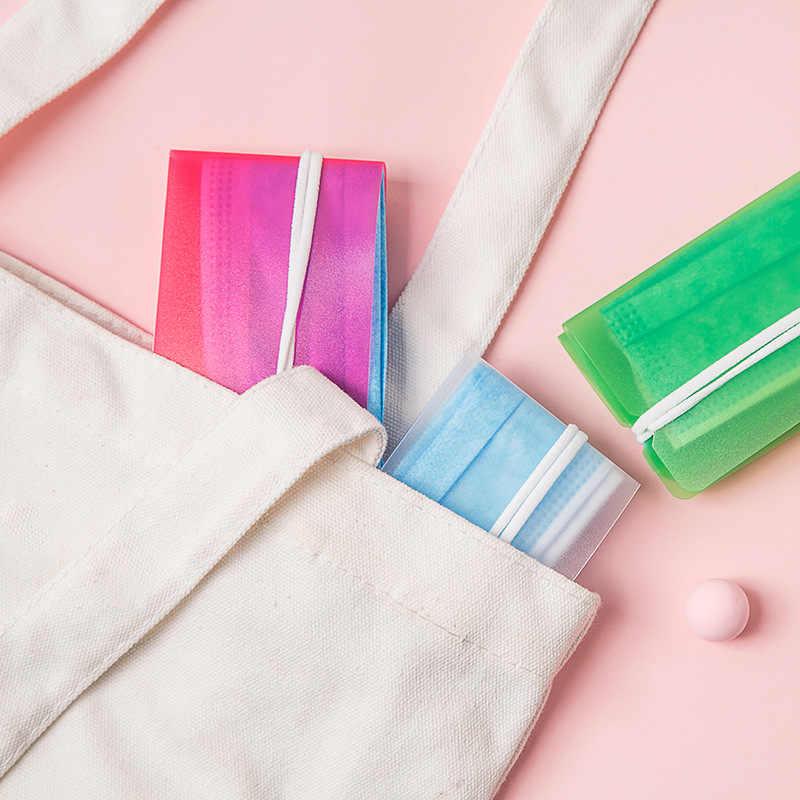 Mini Pp Draagbare Plastic Masker Clips Student Wegwerp Gezichtsmasker Storage Case Container Opvouwbare Masker Houder Hergebruik Masker Opslag