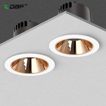DBF przeciwodblaskowe oświetlenie punktowe sufitu 7W 12W 15W 18W czarny/biały/złoty/srebrny reflektor na hotelową ścianę podkładka ściemniająca wbudowany Downlight