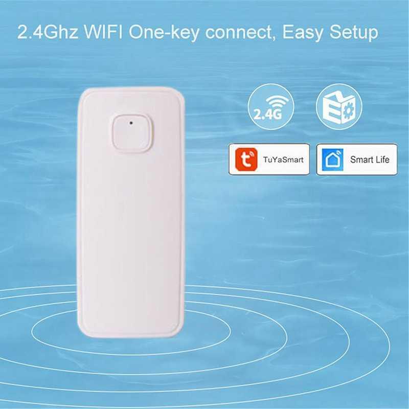 スマート WIFI 漏水センサーアラームチュウヤアプリ制御ホームセキュリティシステム独立したオーバーフロー漏水センサー