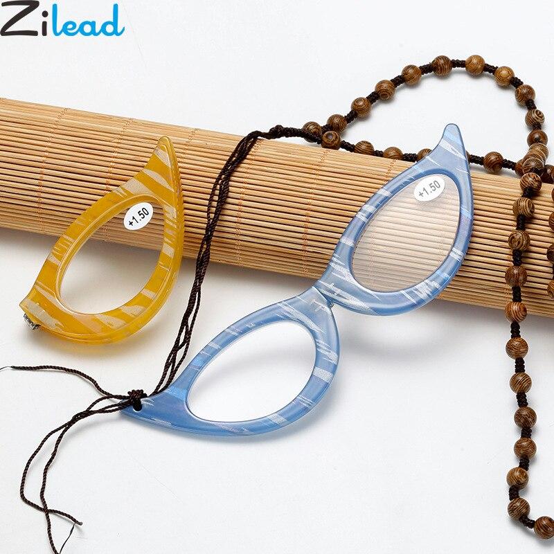 Zilead Cat Eyes Foldable Pendant Reading Glasses Portable Necklace Prebyopia Spectacle Hyperopia Eyeglasses Eyewear For Women