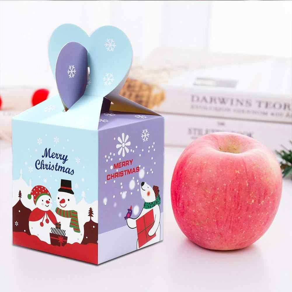 Christmas Candy กล่องน่ารักน่ารักขนาดเล็กของขวัญกล่องสำหรับคุกกี้ขนมเค้กพร้อมฝาปิดคริสต์มาสต้นไม้ของขวัญกล่องบรรจุภัณฑ์