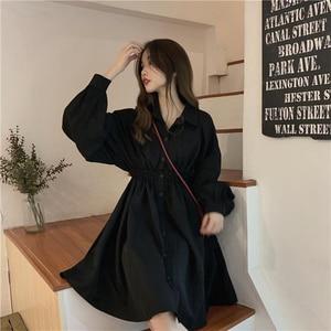 Женское платье с длинным рукавом в стиле преппи, однотонные милые Нечеткие платья, простые элегантные плиссированные японские студенчески...