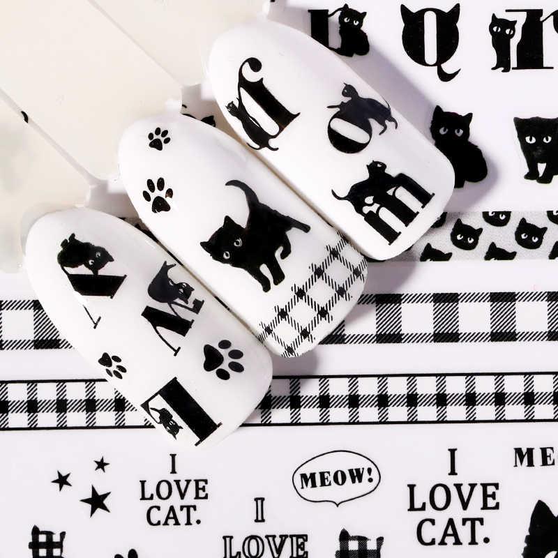 1 แผ่นสติกเกอร์เล็บแมวตัวอักษรรูปแบบผสมสีดำสีเล็บ Decals 3D เล็บ DIY ออกแบบตกแต่ง
