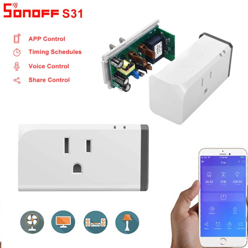 Sonoff S31 US 16A Smart WiFi Socket Monitor Energy Usage Remote Wifi Switch Home Automation Module Work With Alexa Google home|Home Automation Modules| |  - title=