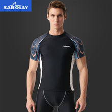 SABOLAY Men Short Sleeve Rashguard Lycra Swimsuit Surfing Snorkeling Rash Guard Shirt UV Protection Swimwear for Beach Sports L