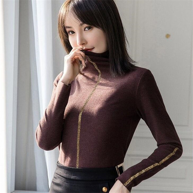 De Velvet High-neck bottoming T-shirt Women Tops Winter WARM double-sided fleece lined plus velvet pile collar all-match Blouse