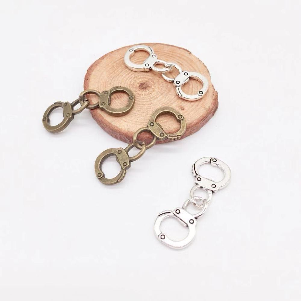 Vintage 7 pcs handcuffs charms metal tiny handcuffs Pendants fit DIY bracelet necklace charms Jewelry Making(China)