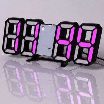 Led Digital Wall Clock Modern Design Watch Clocks 3D Living Room Decor Table  Alarm Nightlight Luminous Desktop 11