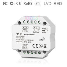 V1-H 2.4G Rf Enkele Kleur Led Dimmer Push Dim Dc 12V 24V 36V 48V Stap-Minder Dimmen Led Controller Voor Enkele Kleur Led Strip