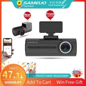 Sameuo U750 Car Dvr Front AND Rear Camera built in wifi car dvr camera dual lens full hd 1080p 24 hour recorder voice recorder()
