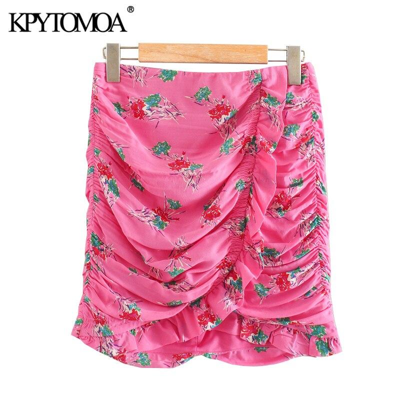 KPYTOMOA Women 2020 Chic Fashion Floral Print Draped Mini Skirt Vintage High Waist Back Zipper Ruffled Female Skirts Mujer