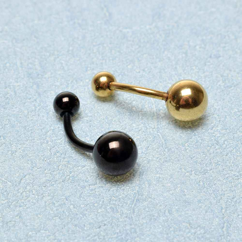 Anti-alergia de acero inoxidable Anillo del botón de vientre Barra Barbell del anillo del ombligo anillos del vientre Piercing del cuerpo de las mujeres vientre botón joyería