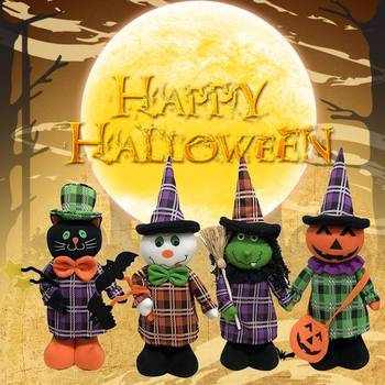 Стоящая кукла Хэллоуин Мультфильм Призрак/ведьма/черная кошка/игрушечные тыквы растягивающиеся ноги идеальный дом вечерние аксессуары для декора