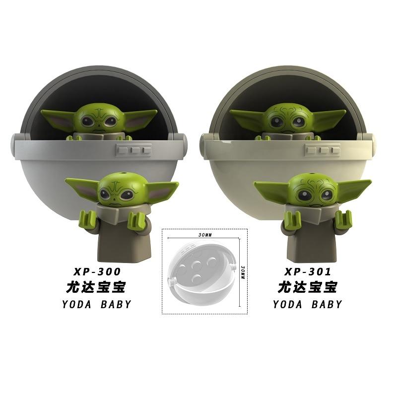 Baby Yoda With Baby Cot Mandalorian Han Solo Yoda Luke Darth Vader Maul Revan Building Blocks Bricks Toys For Children KT1039