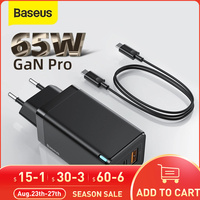 Baseus 65W GaN USB Typ C Ladegerät Verbesserte Telefon Adapter Ladegerät Für iPhone 12 11 Mit 100W Kabel QC 3,0 Schnelle Lade Für Xiaomi