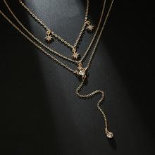 Moda damska wielowarstwowy łańcuszek Choker naszyjnik złoty kolor biżuteria błyszczące CZ kamienie gwiazdy naszyjnik na impreżę N1 tanie tanio Ze stopu cynku Kobiety Łańcuszki naszyjniki TRENDY Link łańcucha ROUND Ślub