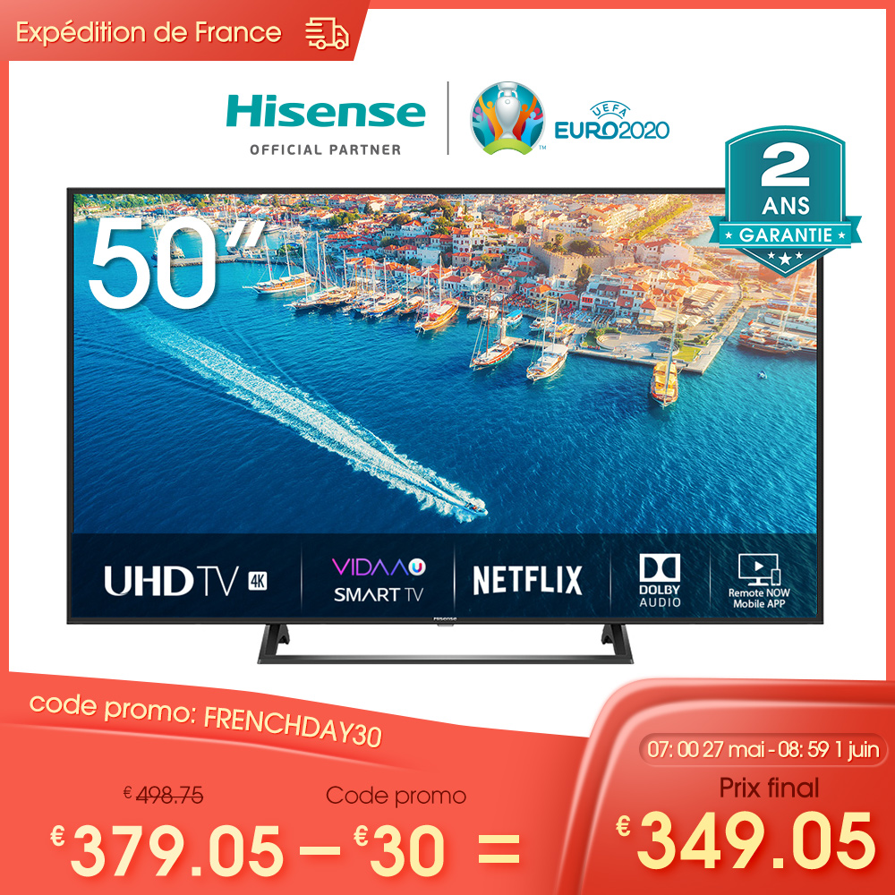 Hisense H50B7300 UHD Smart TV 50'' 4K, HDR 10+, 1127×656mm VIDAA U3.0 Télécommande Vocale Alexa Intégré Slim Design