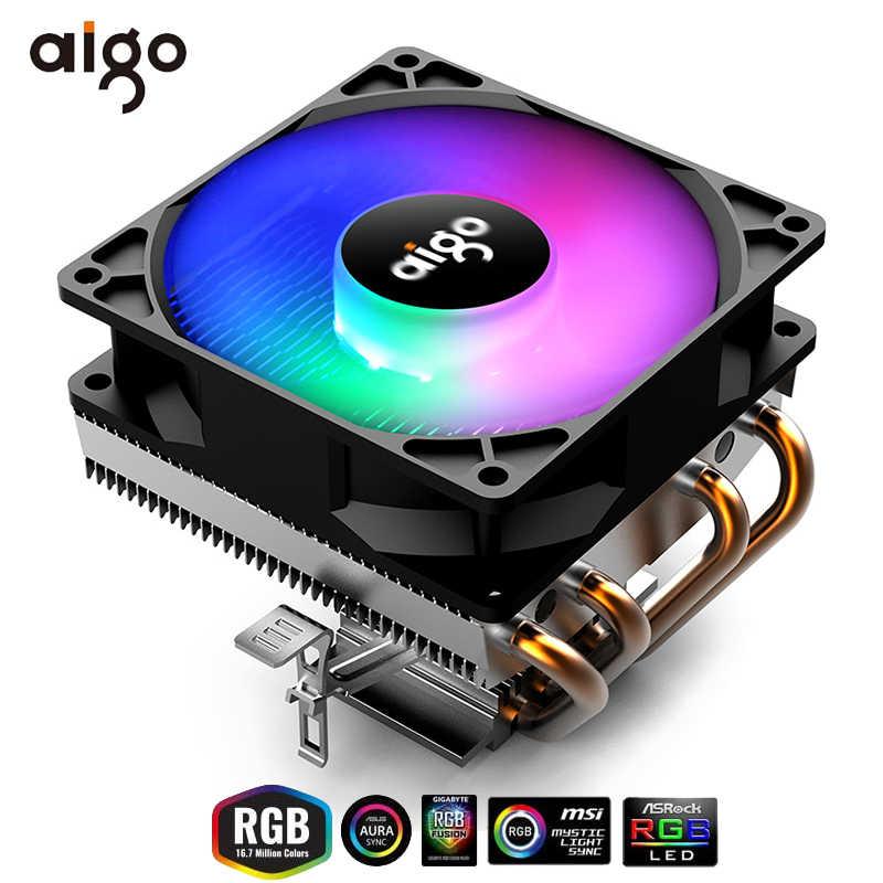 Aigo CPU Cooler 4 Heatpipe CPU di Raffreddamento TDP 280W 3Pin Ventola di raffreddamento del PC di Raffreddamento Dissipatore di Calore 90 millimetri RGB Ventola Del Radiatore 115X/775/1366/2011/AM3 +/AM4