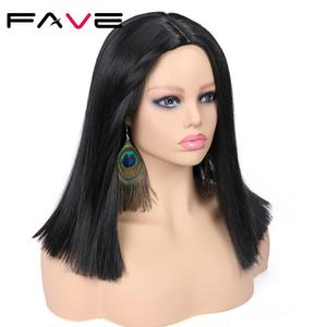 Image 1 - FAVE ישר בוב פאה טבעי שחור אדום כחול ירוק סינטטי שיער התיכון חלק חום סיבים עמידים עבור שחור נשים קוספליי המפלגה