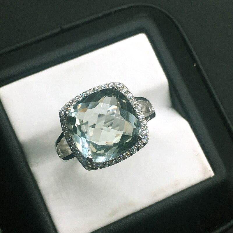 CSJ élégant vert améthyste anneau coussin cut12mm pierres précieuses anneaux sterling 925 argent fine bijoux pour femmes fille avec boîte-cadeau - 2